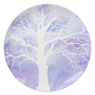 Watercolor winter tree in snow plate