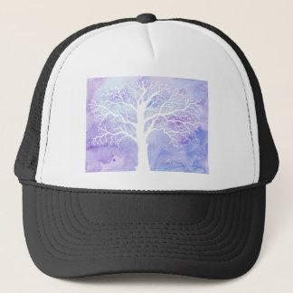 Watercolor winter tree in snow trucker hat