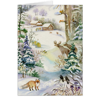Watercolor Winter Wildlife Greeting Card