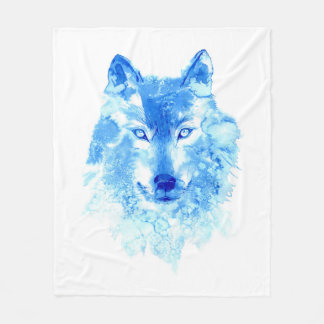 Watercolor Winter Wolf Fleece Blanket