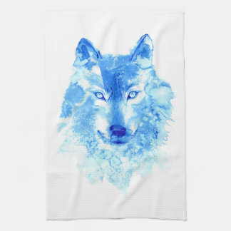 Watercolor Winter Wolf Kitchen Towel