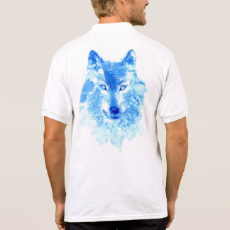 Watercolor Winter Wolf Polo Shirt