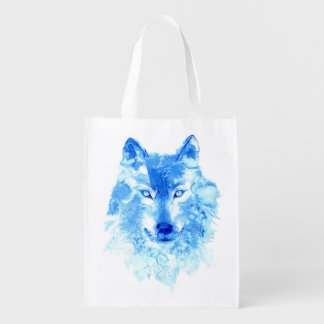 Watercolor Winter Wolf Reusable Grocery Bag