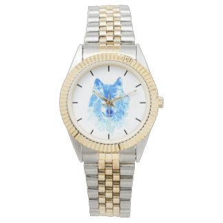 Watercolor Winter Wolf Two-Tone Bracelet Watch