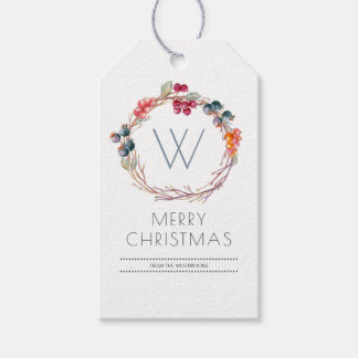 Watercolor Winter Wreath Merry Christmas Gift Tags