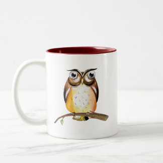 Watercolor Wise Owl on Branch Collectible Two-Tone Coffee Mug