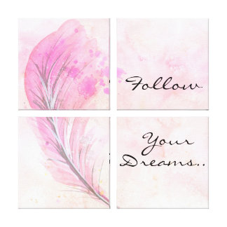 Watercolor with Feather and Quote Canvas Print