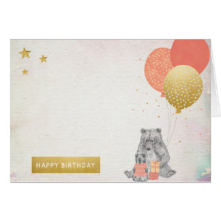 Watercolor with Mama Bear Baby Bear Happy Birthday Card