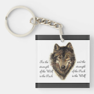 Watercolor Wolf and Family Quote Calendar Double-Sided Square Acrylic Key Ring