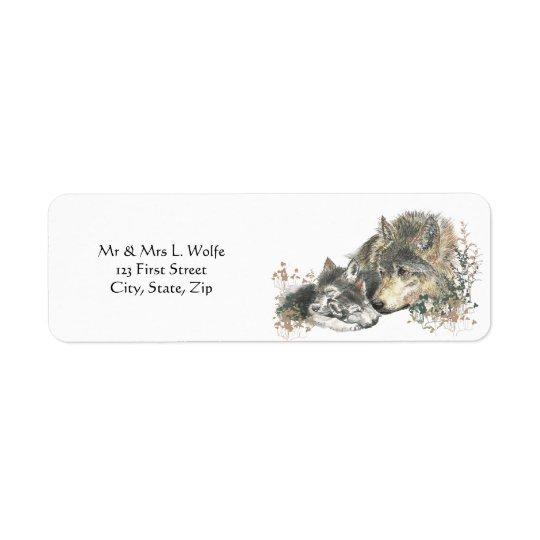 Watercolor  Wolf & Cub Animal Art Return Address Label