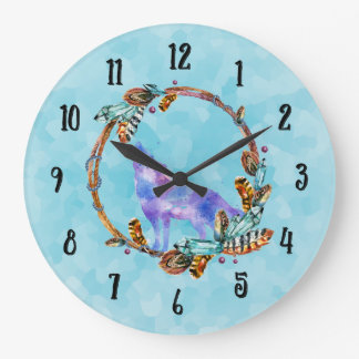 Watercolor Wolf Howling in a Boho Style Wreath Clock