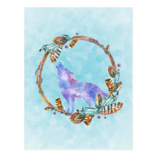 Watercolor Wolf Howling in a Boho Style Wreath Postcard