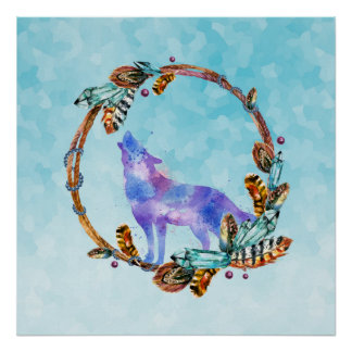 Watercolor Wolf Howling in a Boho Style Wreath Poster