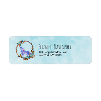Watercolor Wolf Howling in a Boho Style Wreath Return Address Label