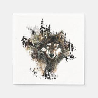 Watercolor Wolf Mountain Animal Nature art Disposable Serviette