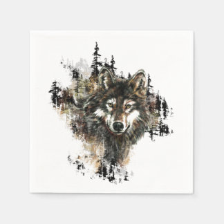 Watercolor Wolf Mountain Animal Nature art Paper Napkin