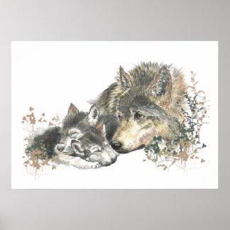 Watercolor  Wolf Parent & Cub Animal Art Poster