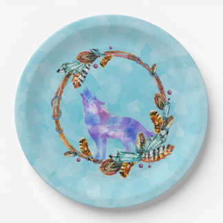 Watercolor Wolf Standing in a Boho Style Wreath Paper Plate