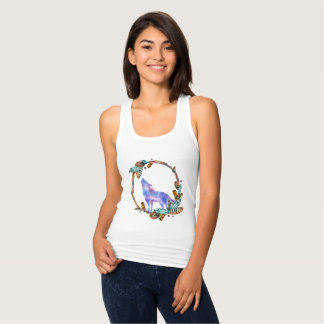 Watercolor Wolf Standing in a Boho Style Wreath Singlet