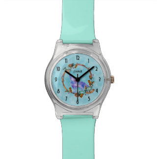 Watercolor Wolf Standing in a Boho Style Wreath Watch