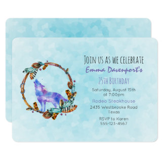 Watercolor Wolf with a Boho Style Wreath Birthday Card