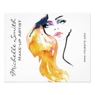 Watercolor woman portrait make up artist branding 11.5 cm x 14 cm flyer