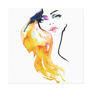 Watercolor woman portrait make up artist branding canvas print