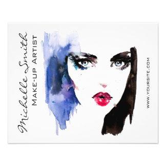 Watercolor woman portrait makeup artist branding 11.5 cm x 14 cm flyer