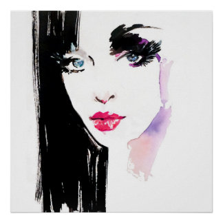 Watercolor woman portrait makeup artist branding poster