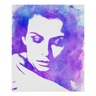 Watercolor Woman Purple Tons Poster