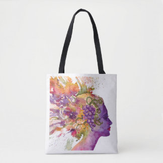 Watercolor woman tote