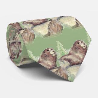 Watercolor Woodchuck, Marmot, Groundhog Animal art Tie