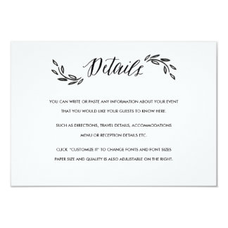 Watercolor Woodland Wedding Insert Details Card