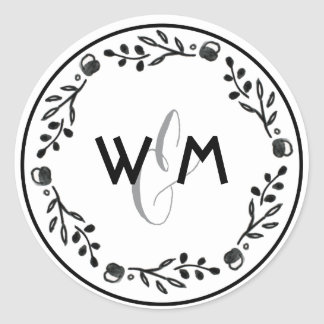 Watercolor Woodland Wedding Monogram Stickers