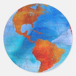Watercolor World Classic Round Sticker