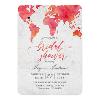 Watercolor World Map Bridal Shower Invitation