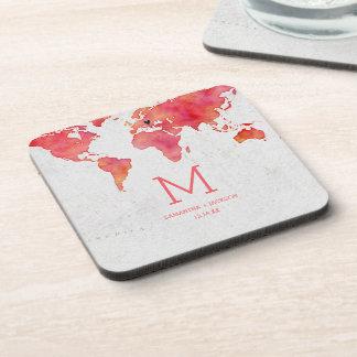 Watercolor World Map Destination Wedding Monogram Coaster