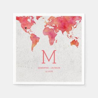 Watercolor World Map Destination Wedding Monogram Paper Napkins