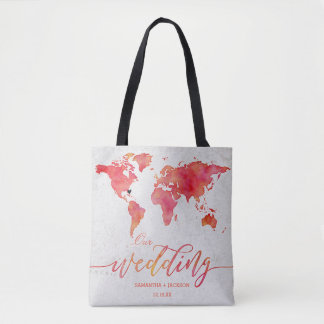 Watercolor World Map Destination Wedding Monogram Tote Bag