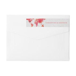 Watercolor World Map Destination Wedding Wrap Around Label