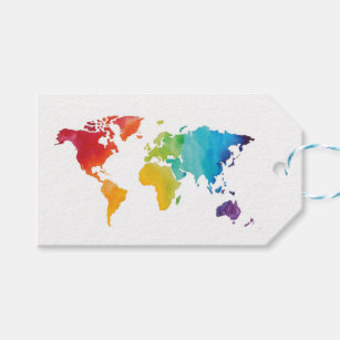 World map gift tags zazzle watercolor world map gift tag gumiabroncs Image collections