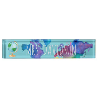 Watercolor World Map Nameplate