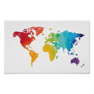 Watercolor world map posters prints zazzle watercolor world map original watercolor print gumiabroncs Gallery