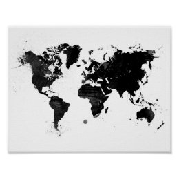 World map posters prints zazzle watercolor world map poster gumiabroncs Images