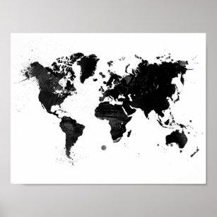 World map posters photo prints zazzle au watercolor world map poster gumiabroncs Choice Image