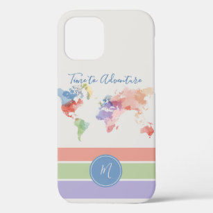 Watercolor World Map TIME TO ADVENTURE Custom   iPhone 12 Case