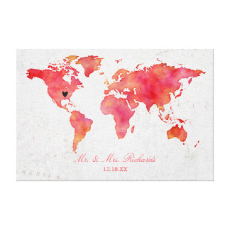 Watercolor World Map Wedding Alternative Guestbook