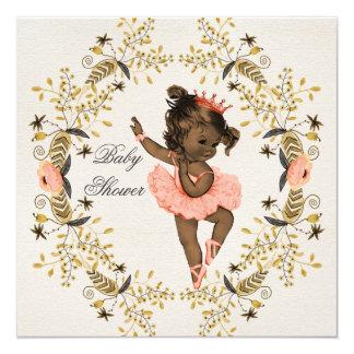 Watercolor Wreath Ethnic Ballerina Baby Shower 5.25x5.25 Square Paper Invitation Card