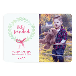 Watercolor Wreath Feliz Navidad Photo Card