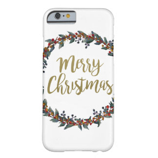 Watercolor wreath - merry christmas - branches barely there iPhone 6 case